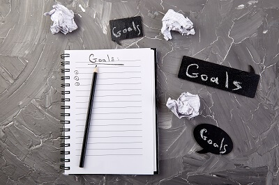 Notebook with a list of your goals